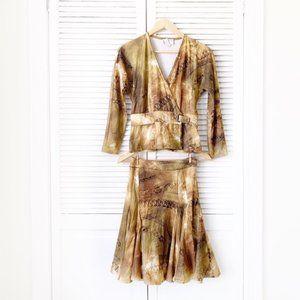 Alberto Makali Chain Printed Skirt Suit NWOT